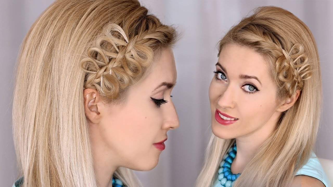 Bow Braid Headband Tutorial :: Party Hairstyle For Medium/long Hair With Well Liked Elegant Bow Braid Hairstyles (View 9 of 15)