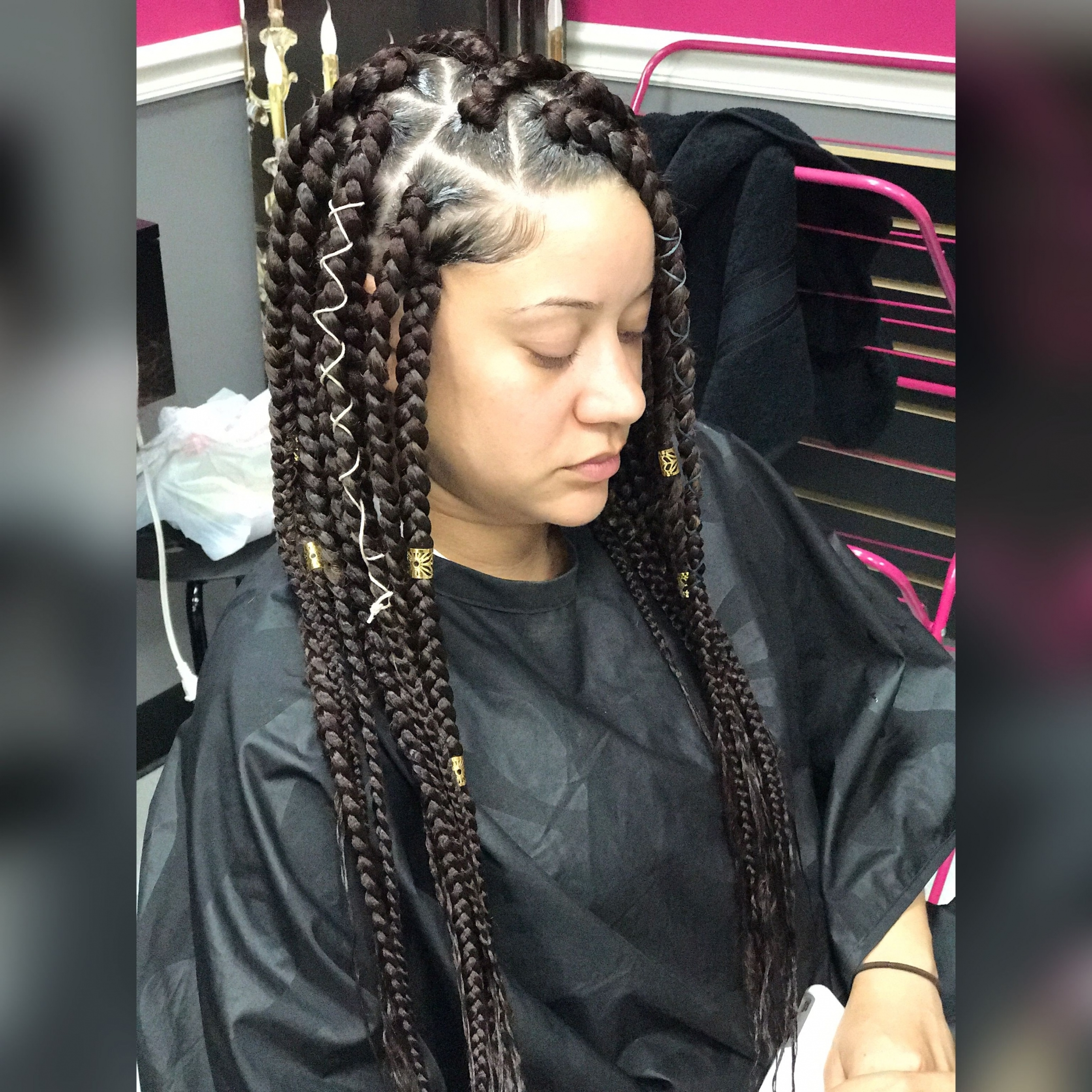 Box Braids Hairstyles Intended For Preferred Bold Triangle Parted Box Braids (View 7 of 15)