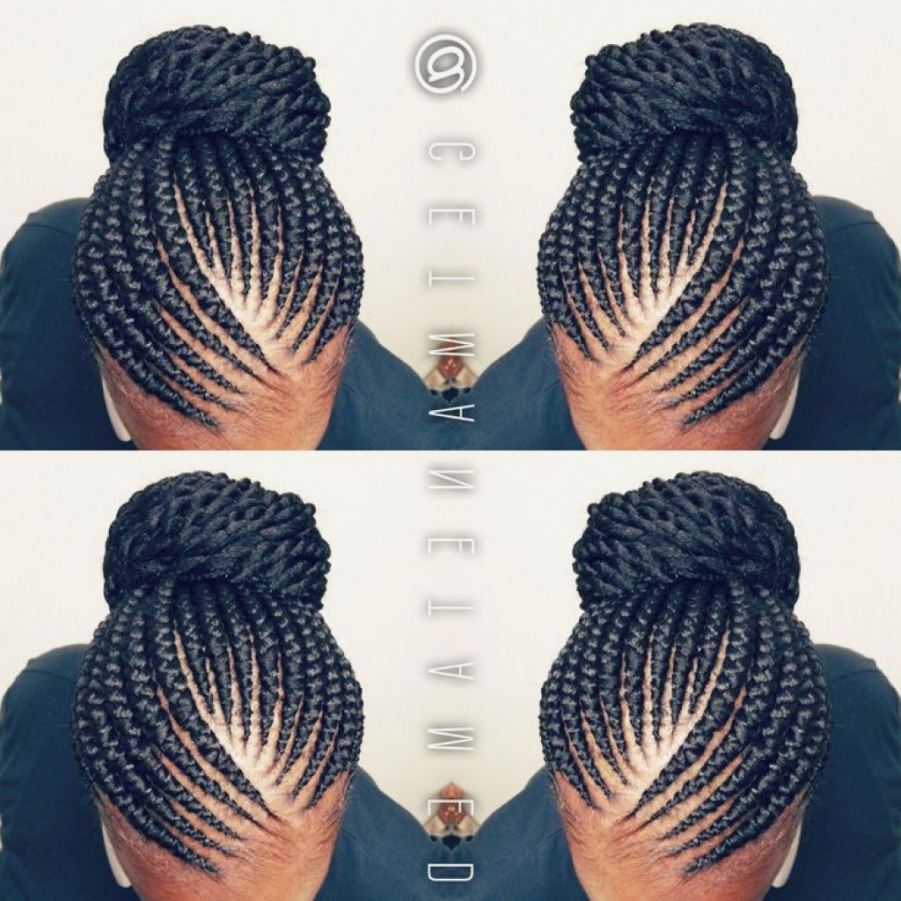 Braid Hairstyles : Simple Cornrow Braided Updo Hairstyles Photo To Intended For Current Simple Cornrows Hairstyles (View 7 of 15)