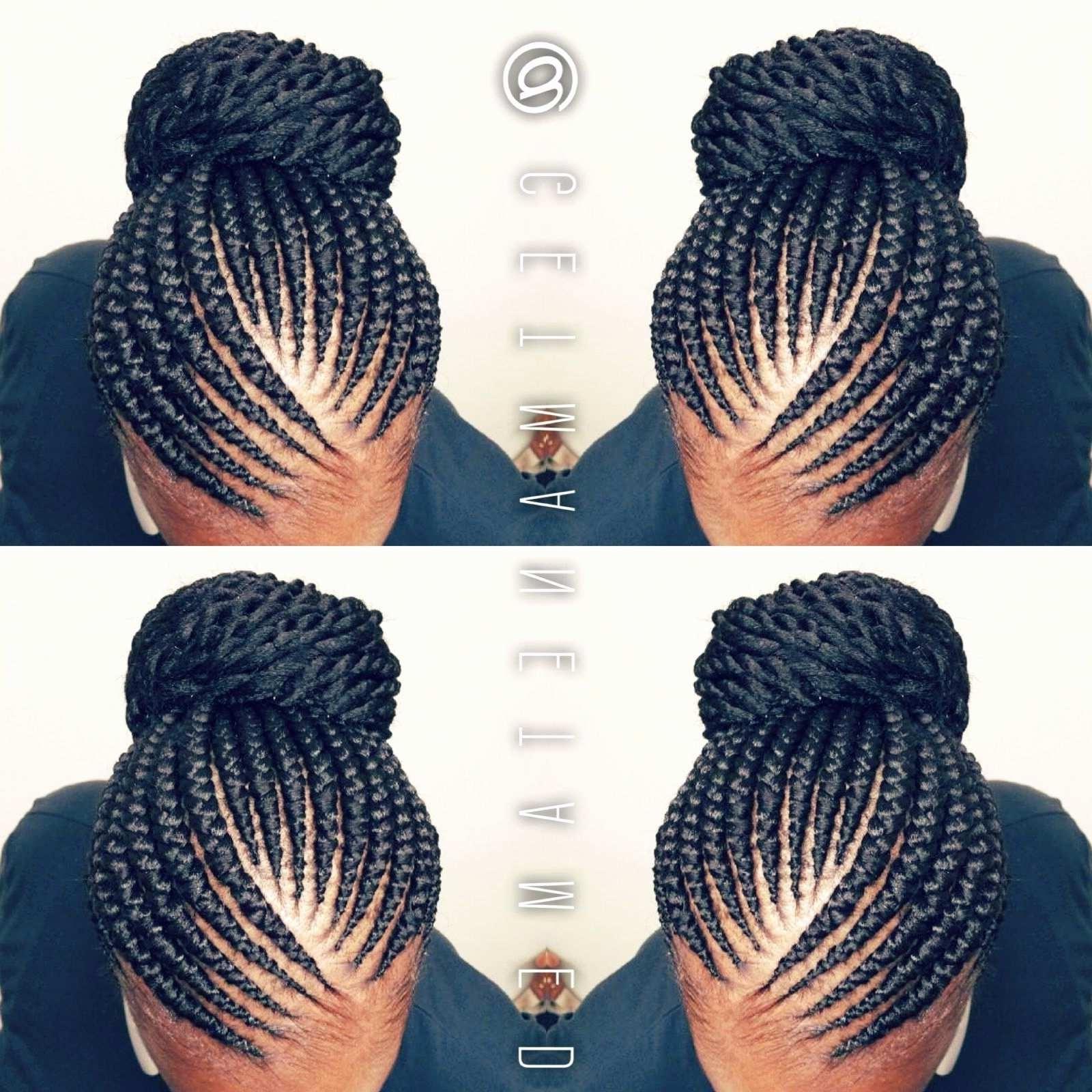 Braided Bun Hairstyles For Black Hair New Ghana Braids Ghana With Regard To Favorite Feed In Bun With Ghana Braids (View 12 of 15)