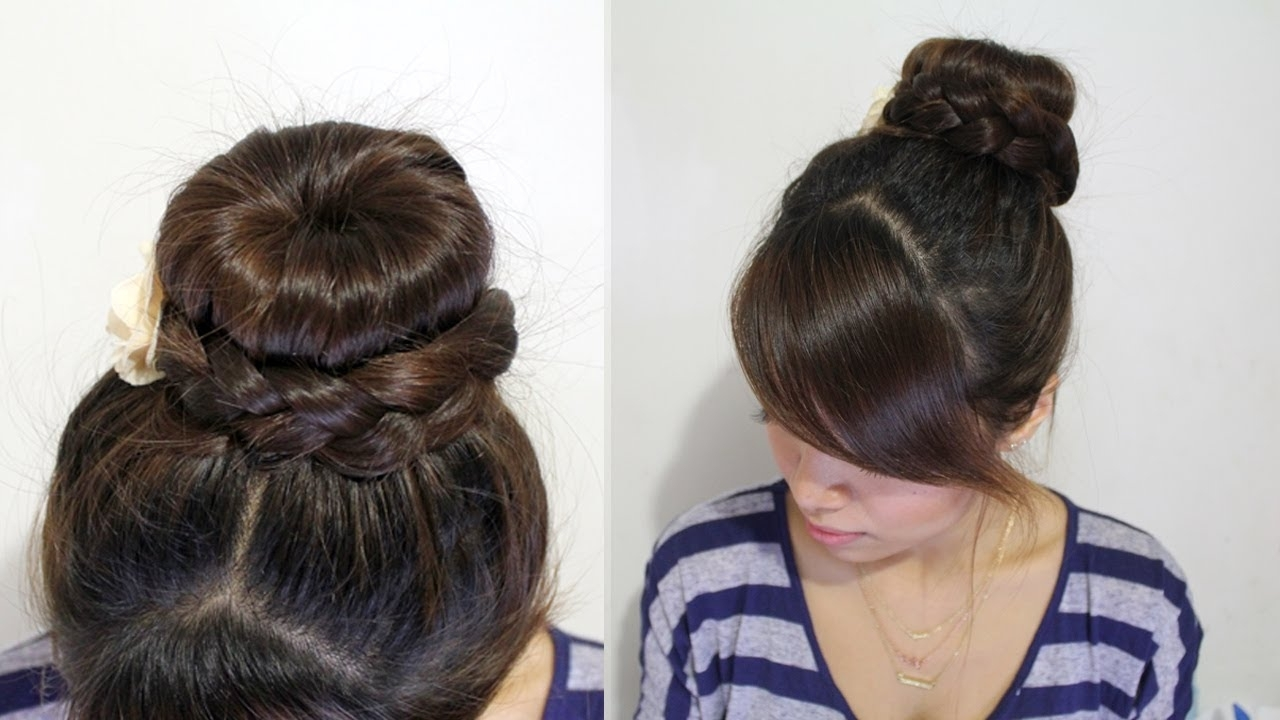 Braided Donut Hair Bun Updo Hairstyle For Medium Long Hair Tutorial Regarding Well Liked Donut Bun Hairstyles With Braid Around (View 5 of 15)