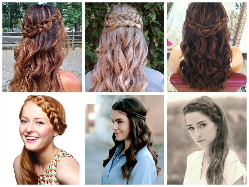 Braided Hairstyle With Hair Down Half Up Half Down Wedding Day Pertaining To Fashionable Braided Hairstyles With Hair Down (View 15 of 15)