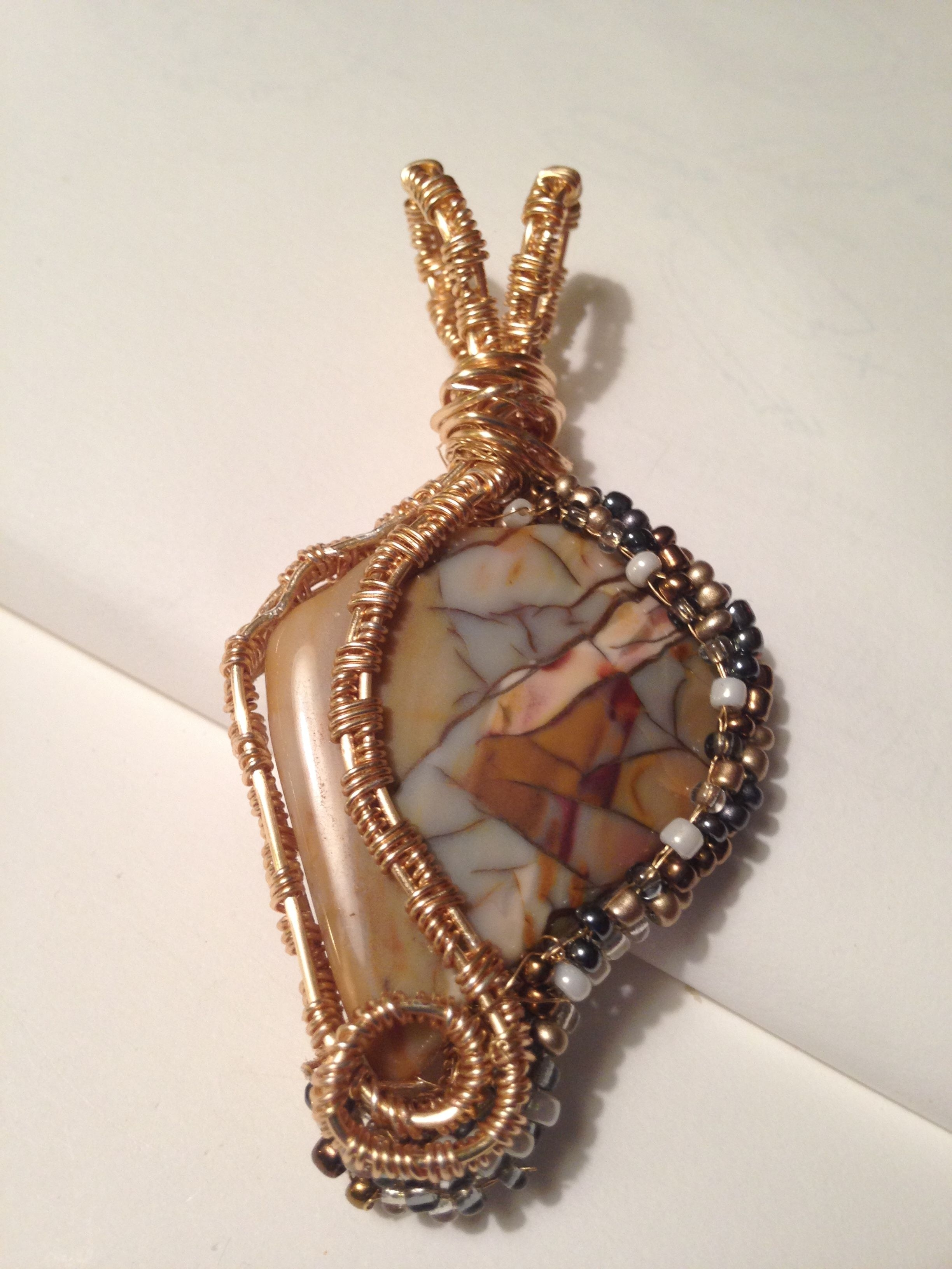 Breciated Oregon Jasper Wrapped In Seed Beads And A Copper Wire Within Best And Newest Ponytail Wrapped In Copper Wire And Beads (View 3 of 15)