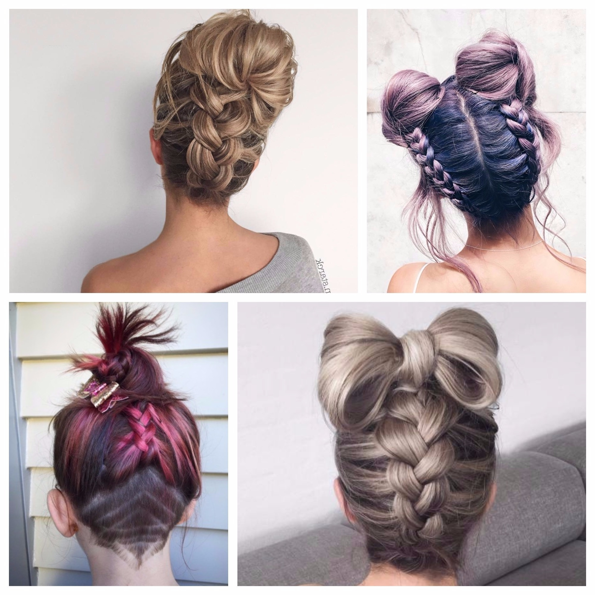 Brilliant Ideas Of Braided Hairstyles With Buns Charming Bun In Widely Used Upside Down Braids Into Messy Bun (View 3 of 15)
