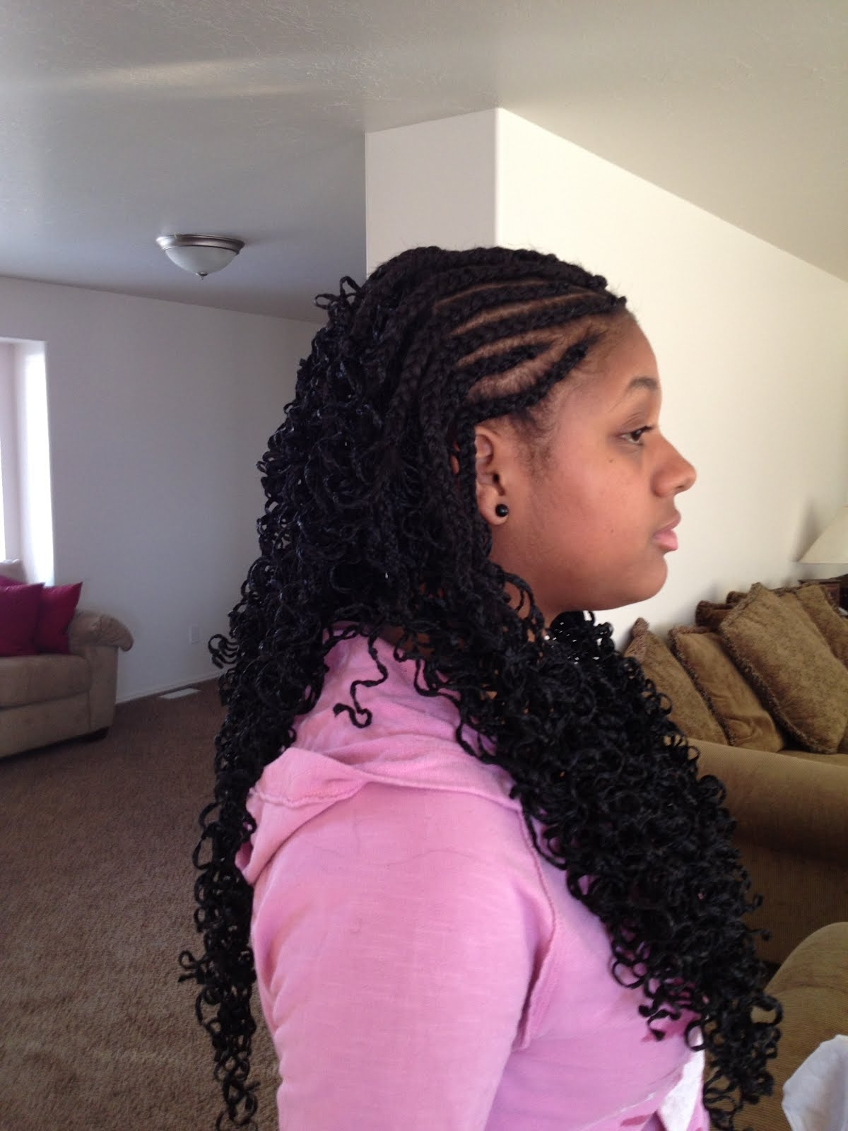 Cornrows Braids Extensions: Half Cornrows Half Crochets For Recent Half Cornrows Half Individual Braids (View 2 of 15)