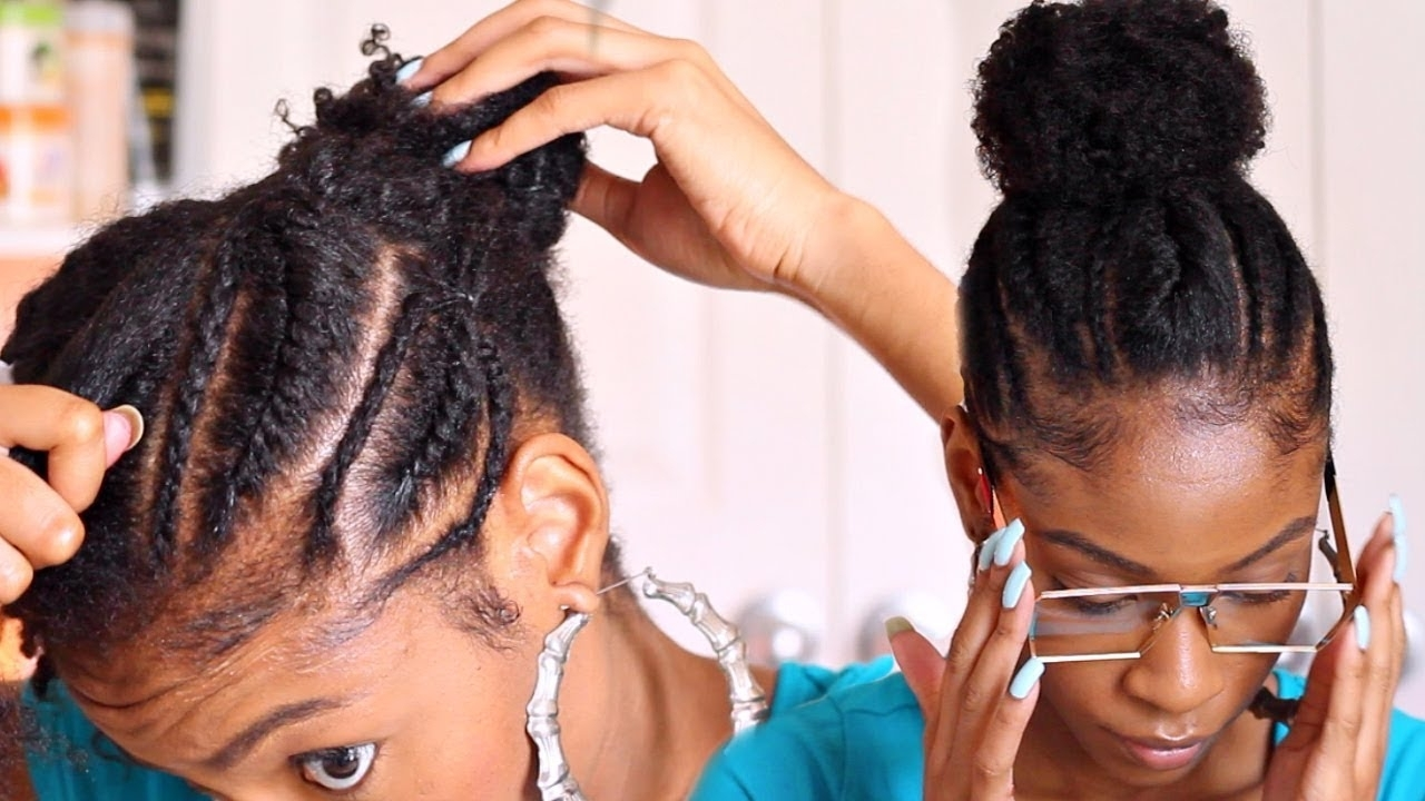 Cornrows Into A Bun On Natural Hair▻ Natural Hairstyles – Youtube Inside Fashionable Cornrows Hairstyles For Black Hair (View 7 of 15)