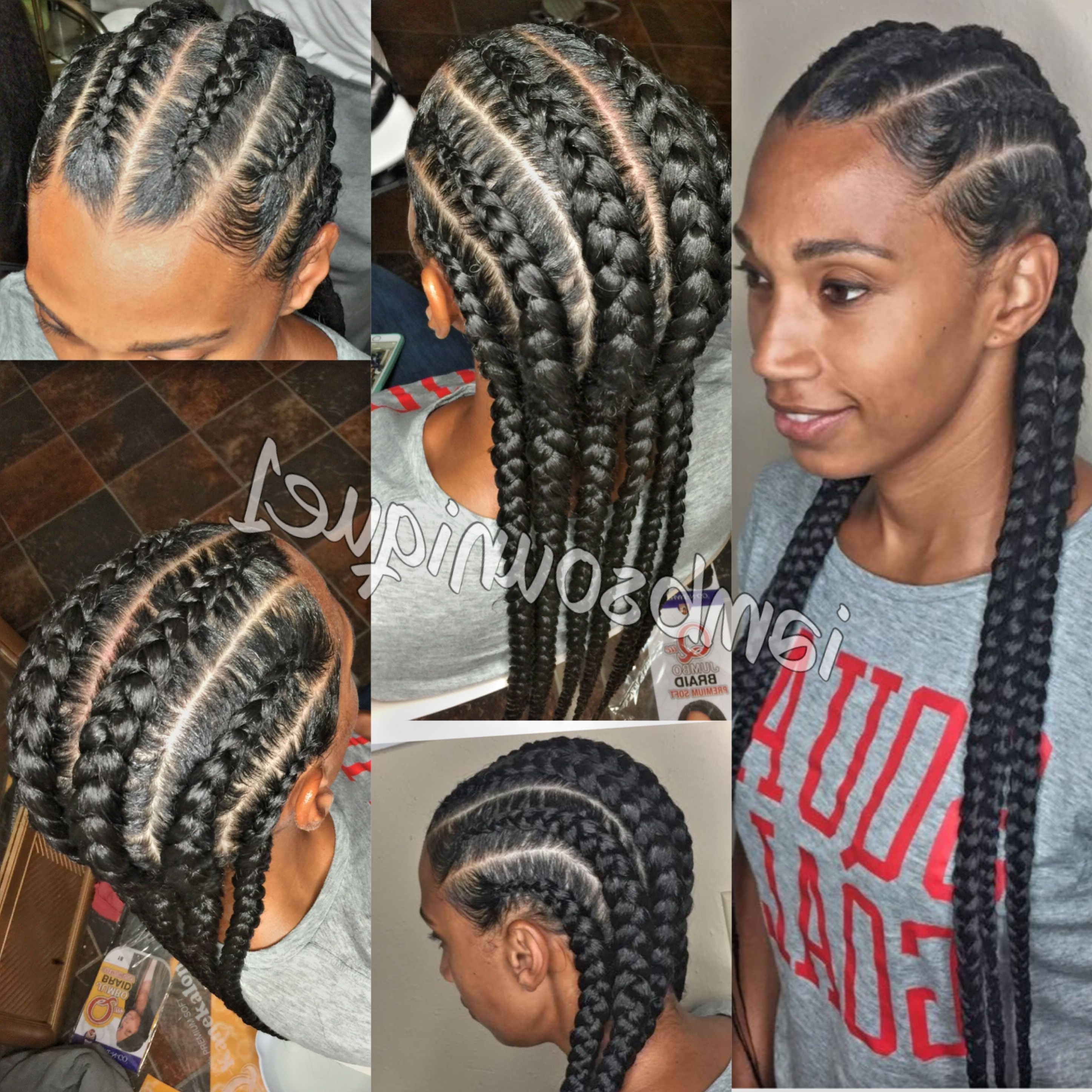Cornrows With Regard To 2017 Thick And Thin Asymmetrical Feed In Braids (View 3 of 15)