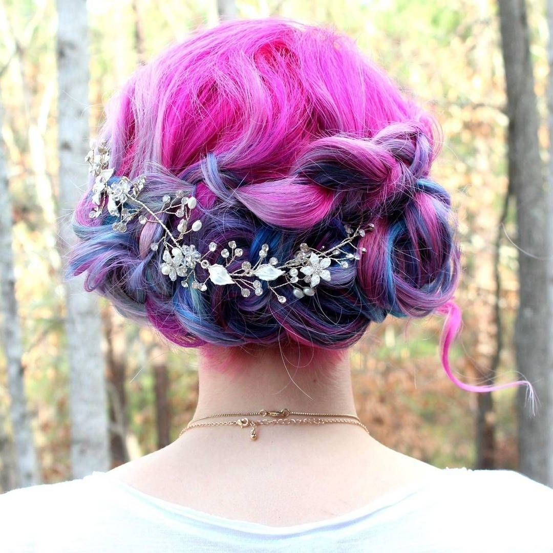 Cotton Candy Swirly Bridal Updo (View 7 of 15)