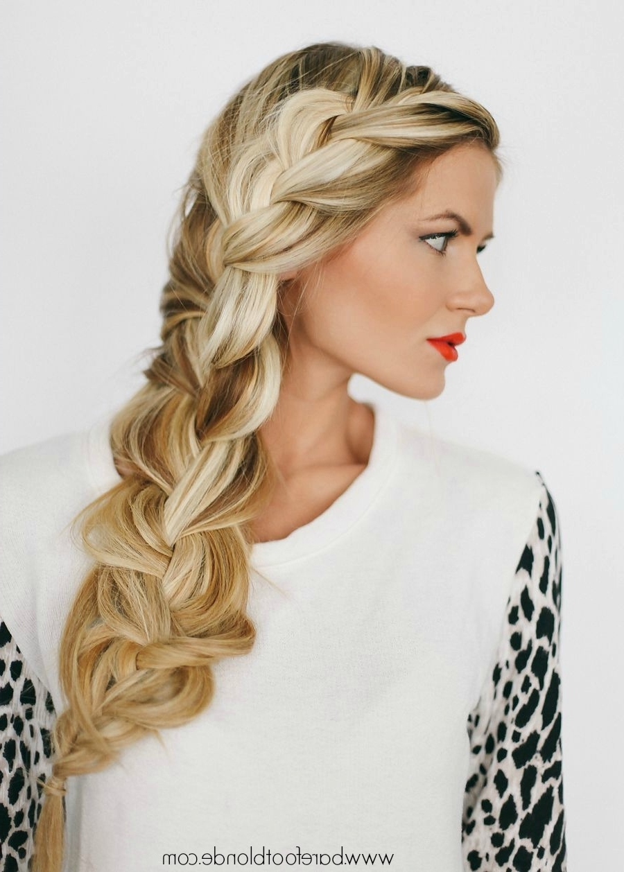 Current Blonde Pony With Double Braids Pertaining To Side Braid Video Tutorial – Barefoot Blondeamber Fillerup Clark (View 8 of 15)