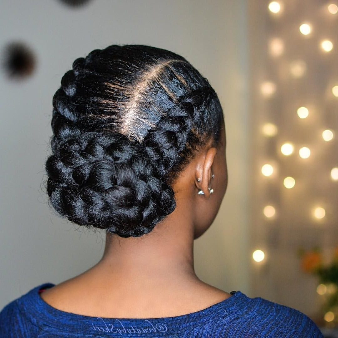 Current Bulky Braided Crown Bun Within Jumbo Feed In Braids With A Bun (View 5 of 15)