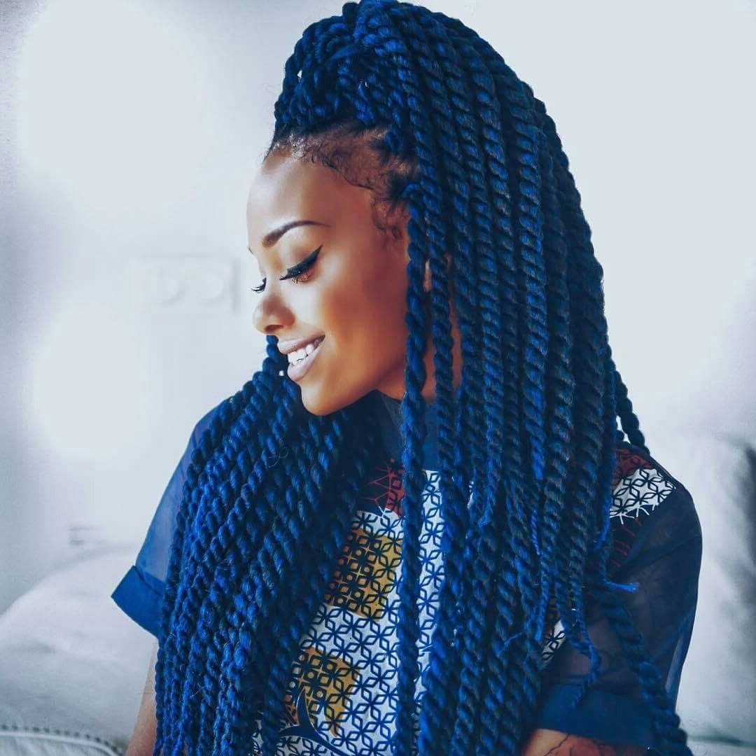 Current Classic Fulani Braids With Loose Cascading Plaits With Braids Bleu Vanille (View 8 of 15)