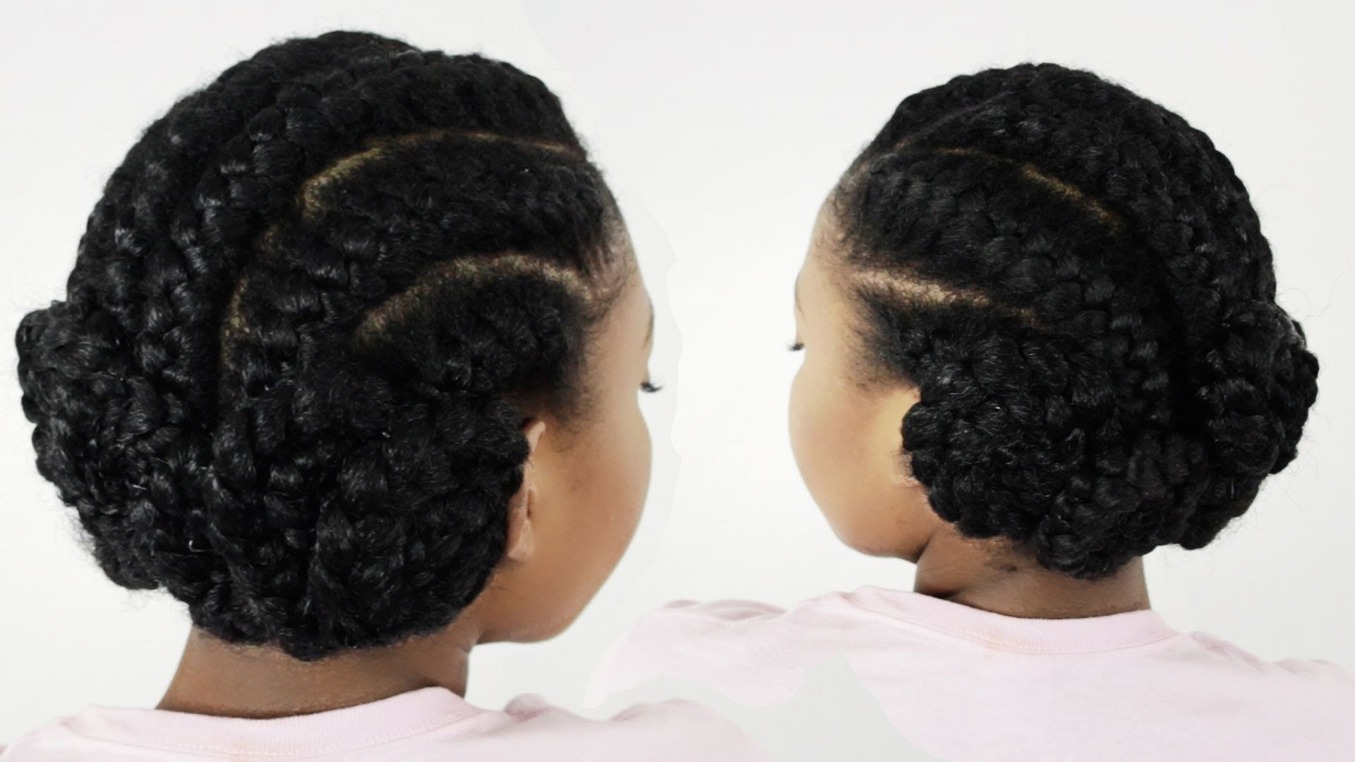 Current Cornrows Hairstyles In A Bun In Goddess Braids Pinwheel Bun: Under Braid Hairstyles For Black Women (View 9 of 15)