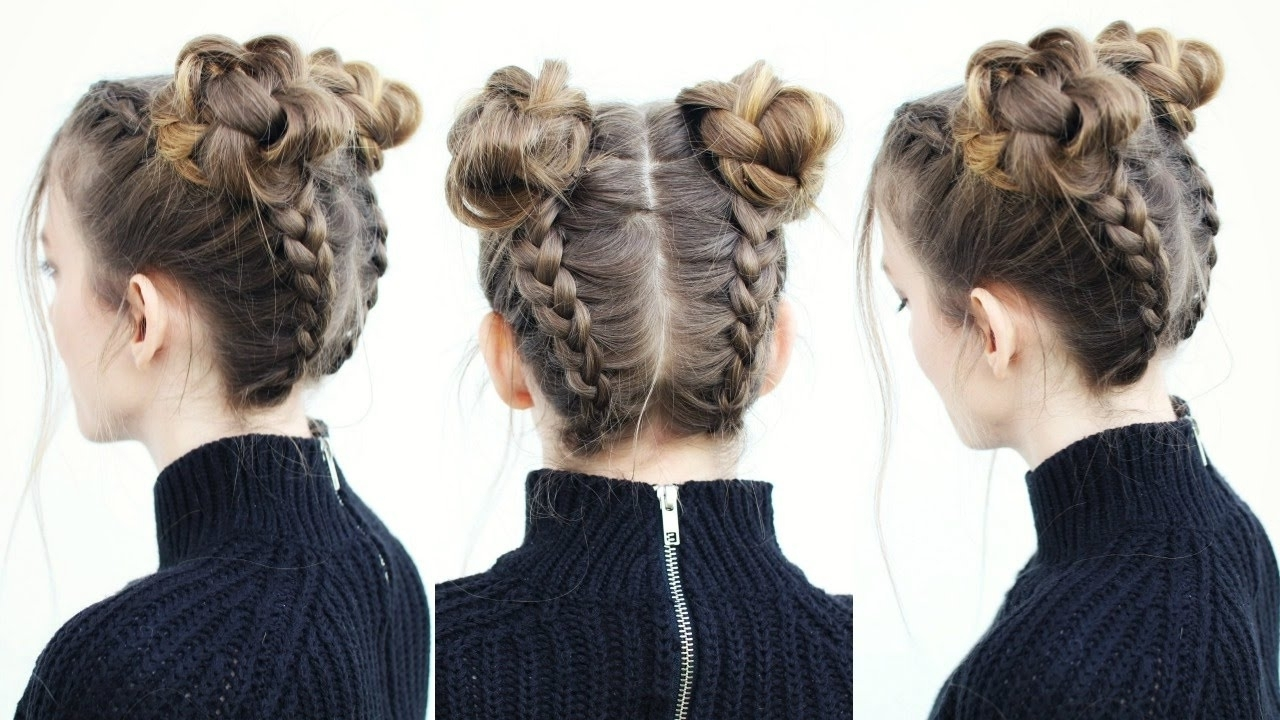 Current Upside Down Braids To Bun For Upside Down Braid Into Braided Space Buns (View 1 of 15)