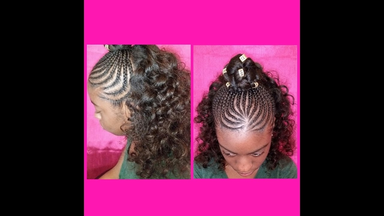 Current Wavy Straight Back Braids Inside Style With J: Half Up Cornrows/half Down Curly Hair – Youtube (View 2 of 15)