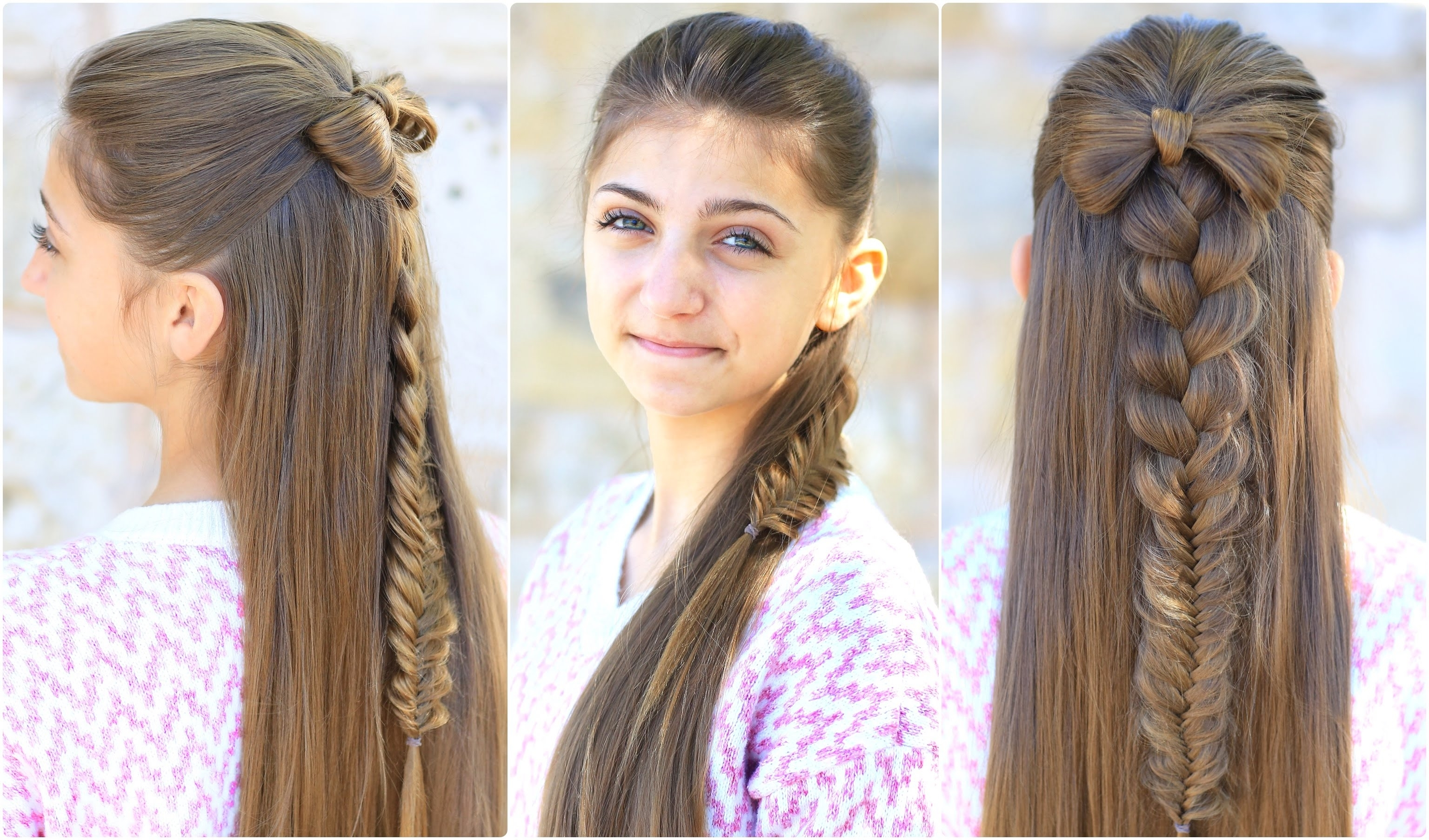 Cute Girls Hairstyles – Youtube For Most Current Elegant Bow Braid Hairstyles (View 13 of 15)