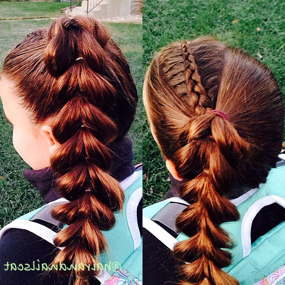 Diagonal Dutch Braid Into Pull Through Braided Ponytail Hairstyle Within Well Known Diagonally Braided Ponytail (Gallery 13 of 15)