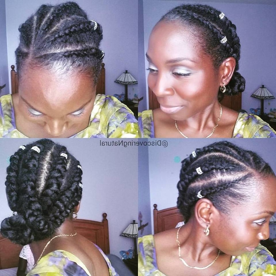 Discoveringnatural: How To Do Feed In Cornrows / Ghana Braid Inside Current Feed In Bun With Ghana Braids (Gallery 14 of 15)
