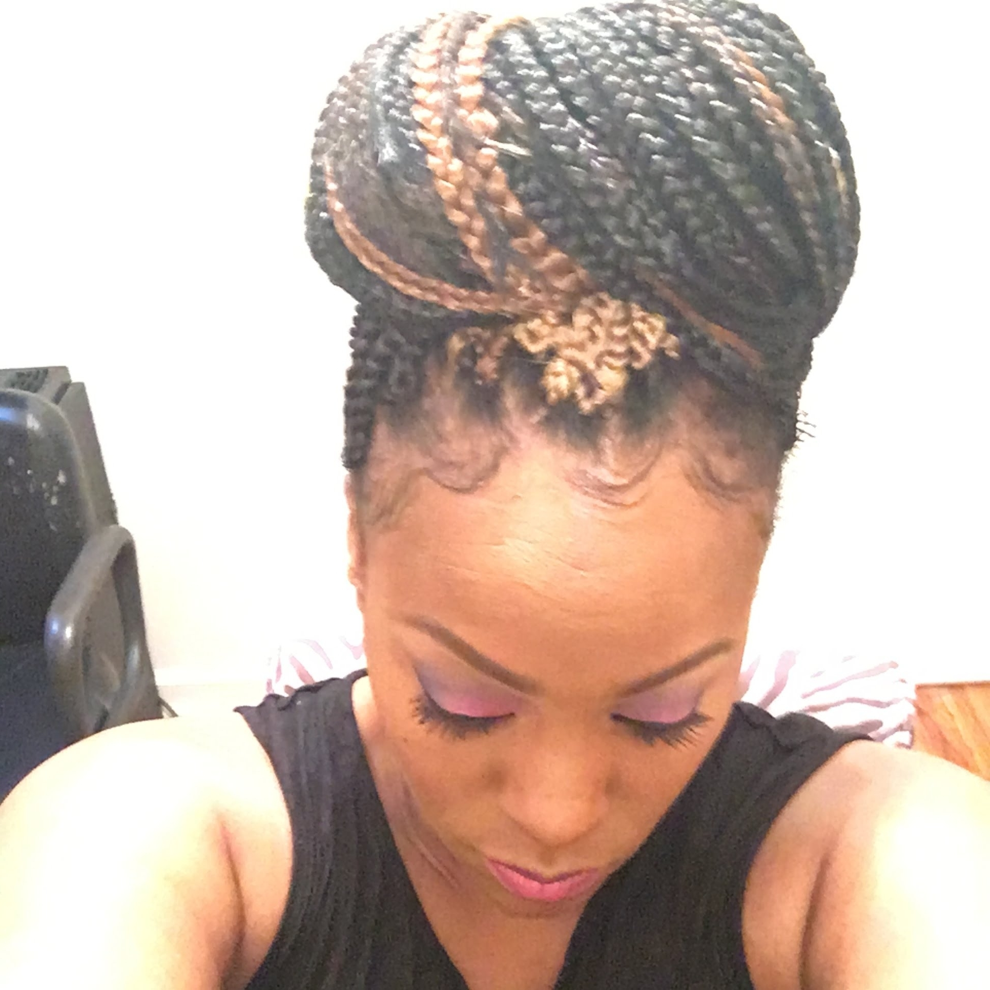 Diy  Small Box Braids Crochet/sewin Style ( Janet Collection) For Regarding Preferred Cornrows Hairstyles For Thin Edges (View 9 of 15)
