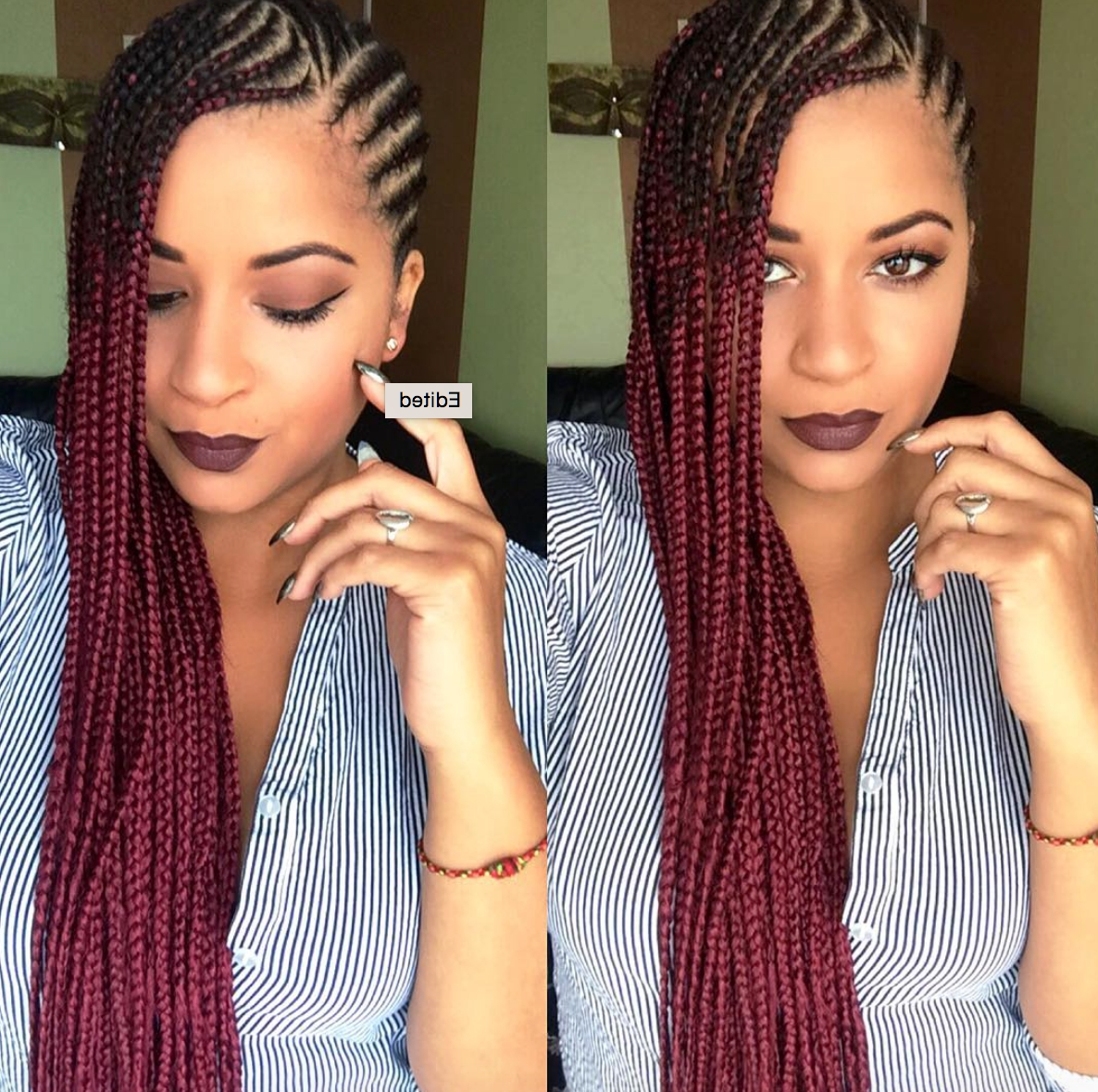 Dope Red Ombre Braids @eugenze Read The Article Here – Http://www With Regard To Most Recent Cornrows Hairstyles With Color (Gallery 14 of 15)