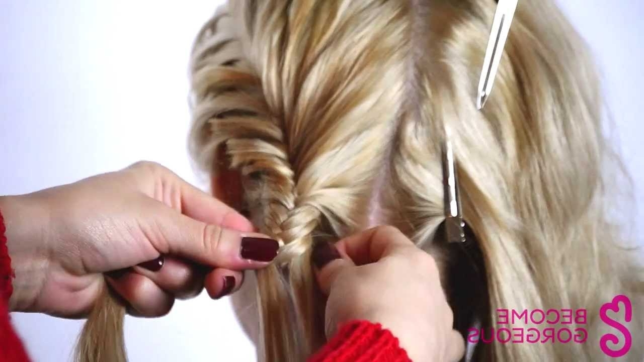 Double Fishtail Braid Updo Tutorial – Become Gorgeous – Youtube Intended For Most Popular Diagonal Two French Braid Hairstyles (View 5 of 15)