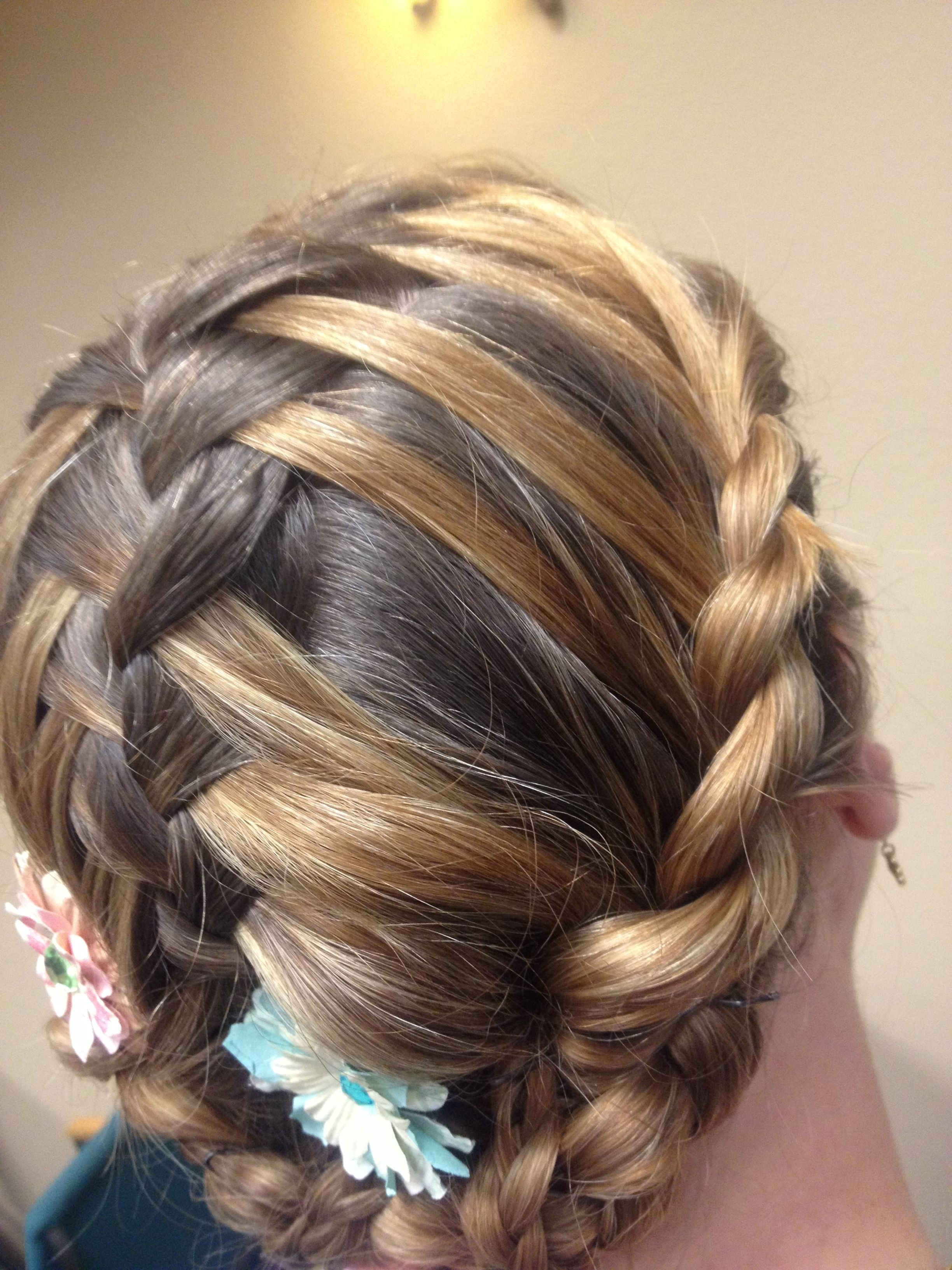 Double Waterfall Braid Down The Center, Then Incorporated Into Side Throughout Preferred Chunky Two French Braid Hairstyles With Bun (View 3 of 15)