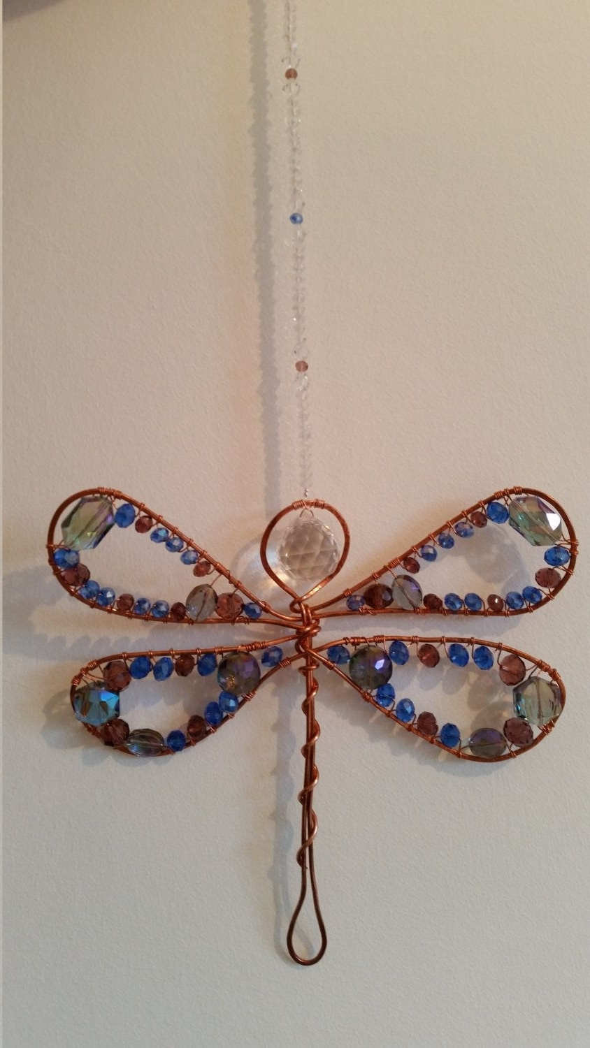 Dragonfly Copper Wire Wrap Suncatcher With Crystal Beading & Prism Throughout Fashionable Ponytail Wrapped In Copper Wire And Beads (Gallery 13 of 15)