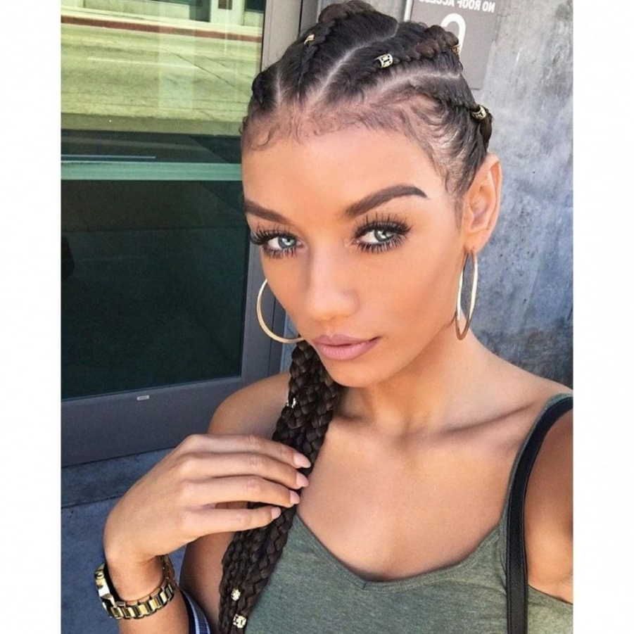 √ 24+ Lovely French Braid Hairstyles For Black Hair: Hairstyles Pertaining To Recent French Braid Hairstyles For Black Hair (View 5 of 15)