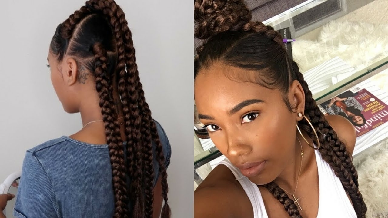 Easy Summer Protective Style: 7 Braids Using Lovelyb's Edge Control With Regard To Fashionable Braided Hairstyle With Jumbo French Braid (View 5 of 15)