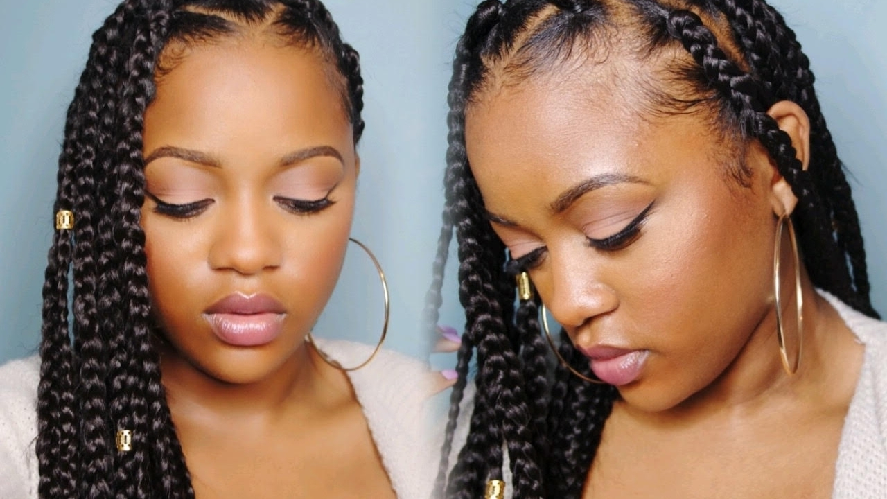 Easy Triangle Part Box Braids (Rubberband Method) – Youtube Within Newest Bold Triangle Parted Box Braids (View 8 of 15)