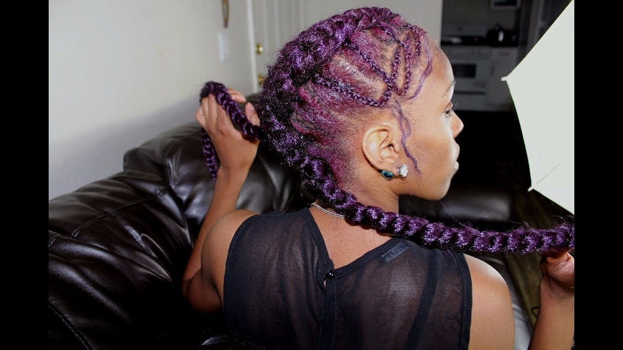 Famous Criss Crossed Braids With Feed In Cornrows With Tutorial)Feeding Criss Cross Cornrow Braids – Youtube (View 4 of 15)
