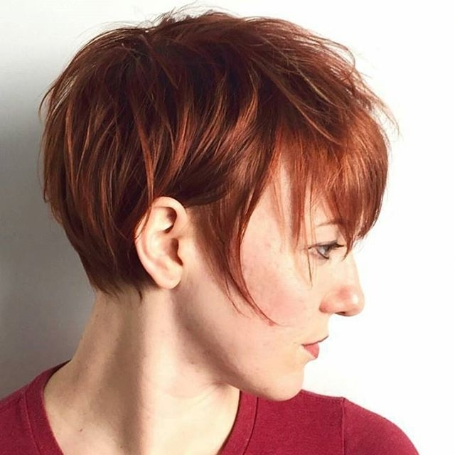 Fashionable Brunette Pixie With Feathered Layers Throughout 21 Gorgeous Short Pixie Cuts With Bangs (View 8 of 15)
