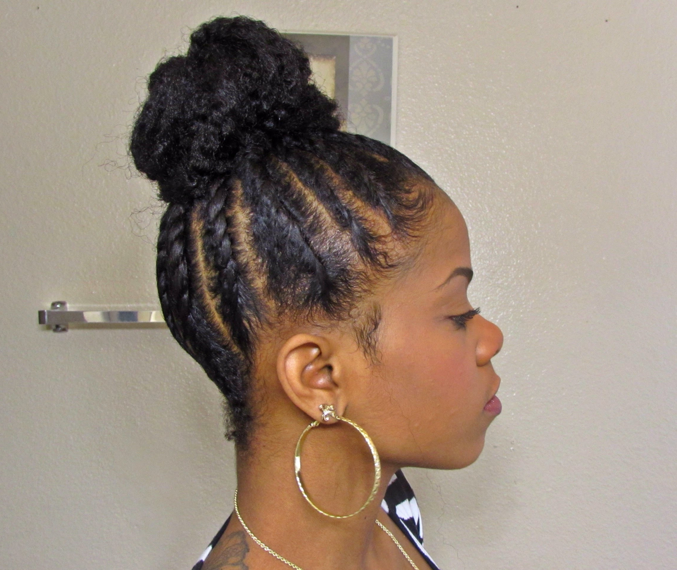 Fashionable Cornrows With High Twisted Bun Within Beehive Bun (View 5 of 15)