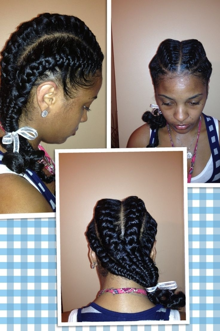 Fashionable French Braid Hairstyles For Black Hair Pertaining To Two French Braid Hairstyles For Black Hair – Hairstyles Inspiring (View 6 of 15)