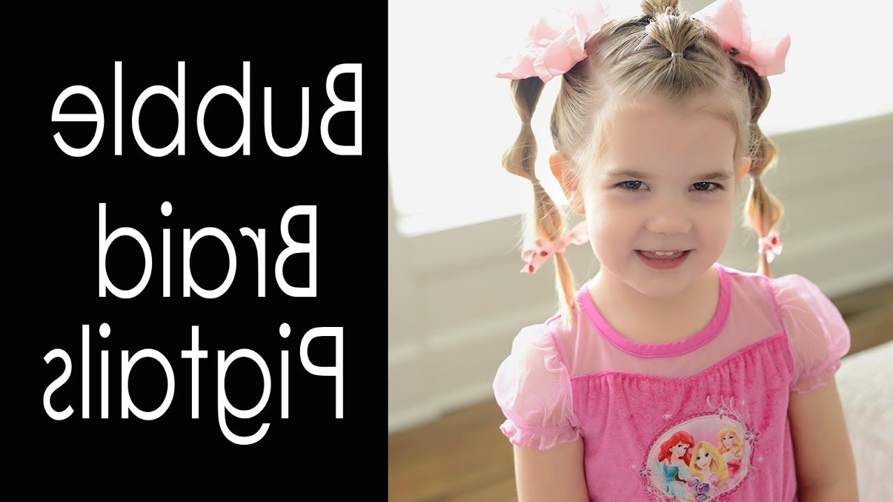 Fashionable Pigtails Braids With Rings For Thin Hair For Bubble Braid Pigtails – Hairstyles For Toddlers – Fine Hair – Youtube (View 7 of 15)