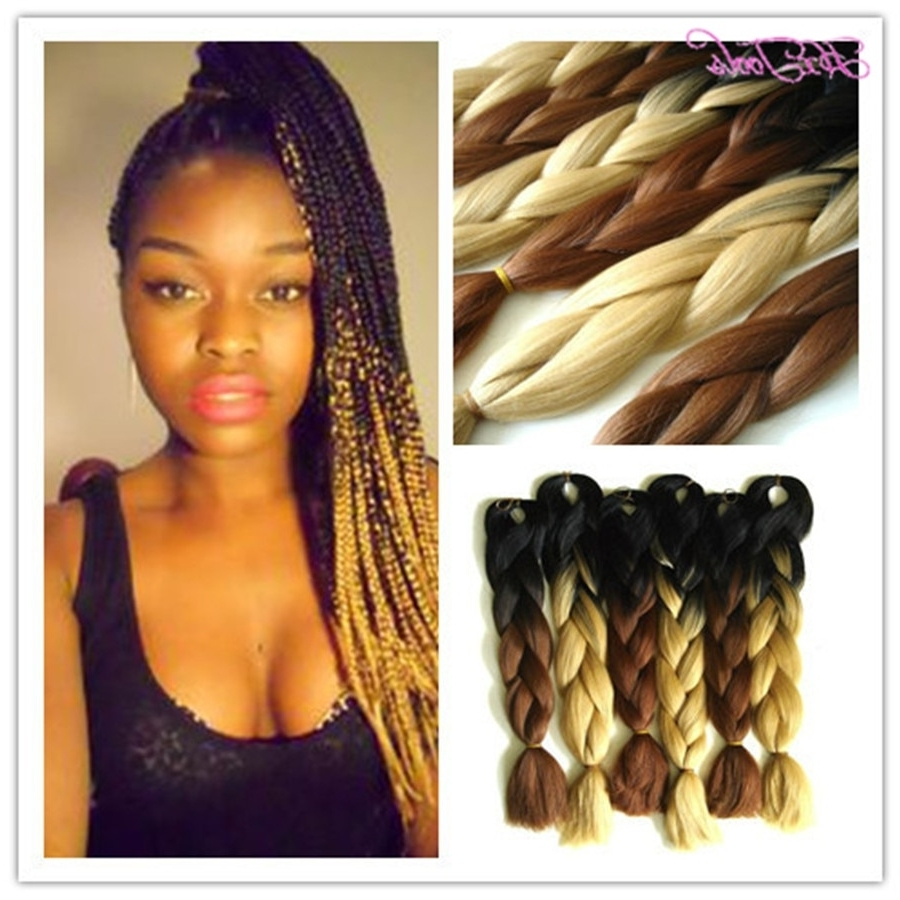 Fashionable Two Extra Long Braids Throughout Folded Length 24Inch Ombre Color Black +D Brown Jumbo Hair Braid (View 7 of 15)