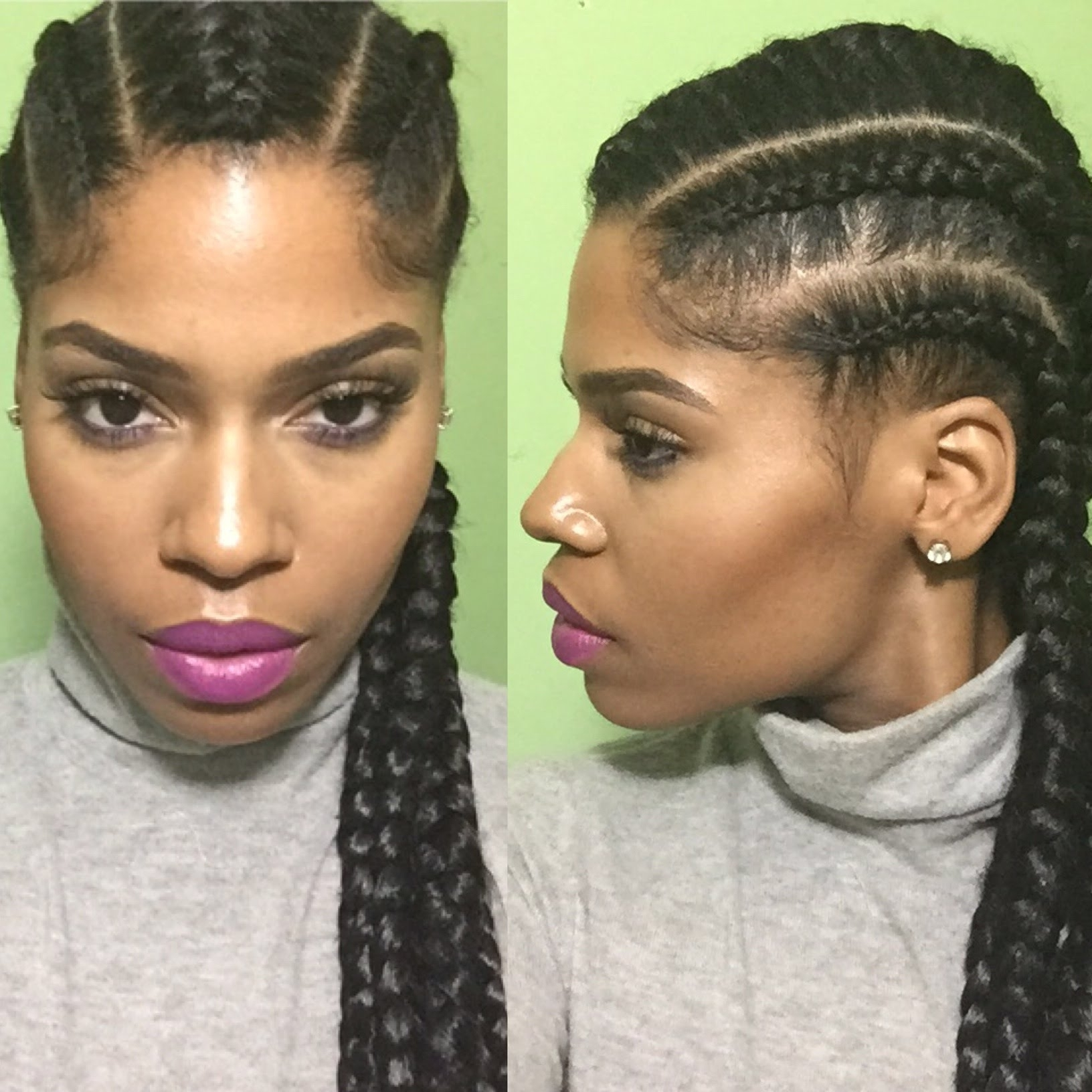 Favorite Cornrows Hairstyles Going Back Within Natural Hair Protective Style With Jumbo Straight Back Cornrows (View 7 of 15)