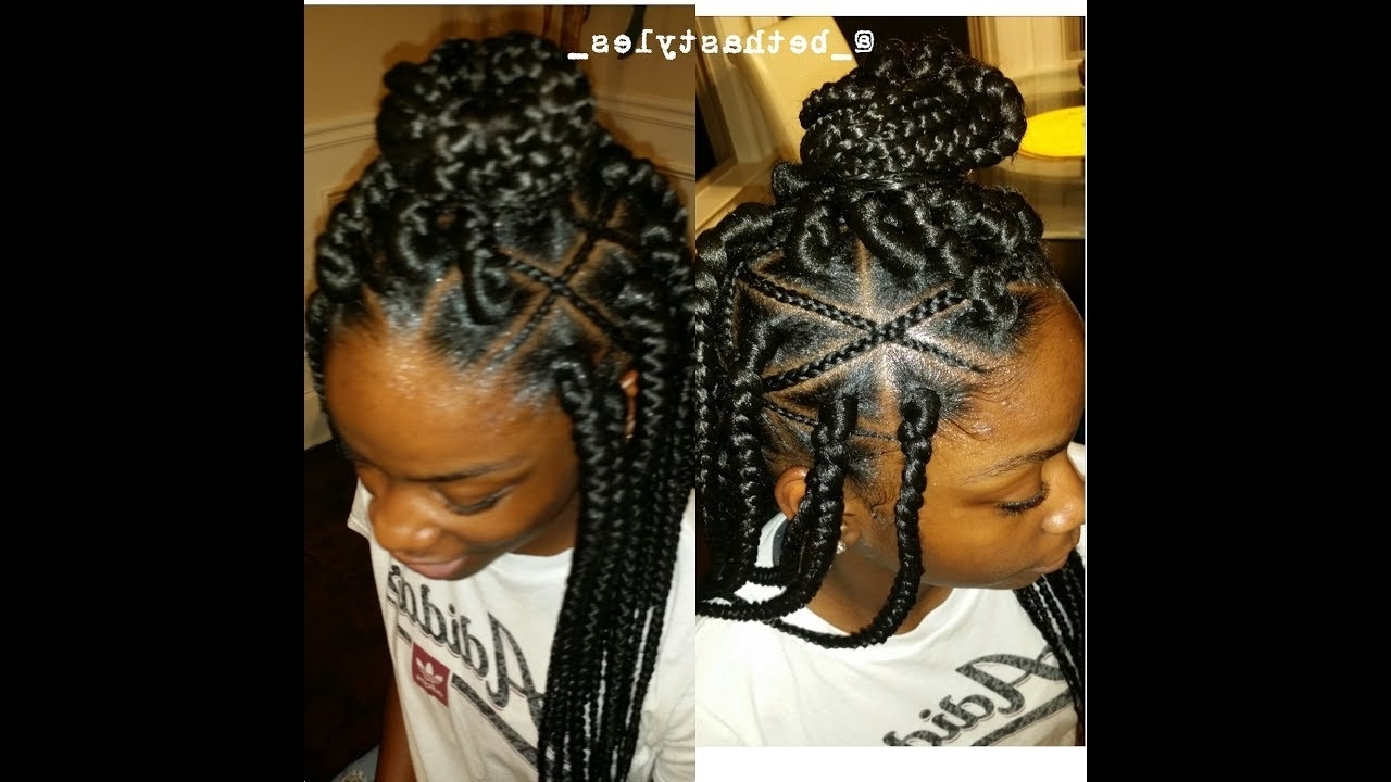 Favorite Criss Crossed Braids With Feed In Cornrows Within Feed In Box Braids/inspiration! – Youtube (View 6 of 15)