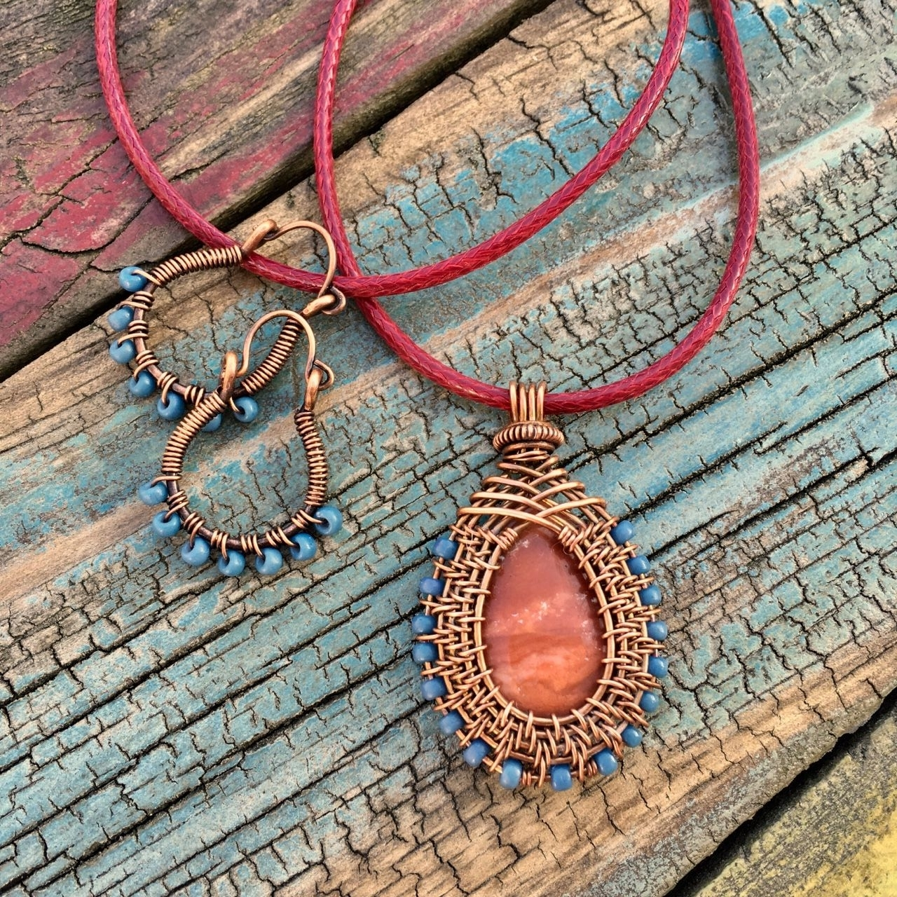 Favorite Ponytail Wrapped In Copper Wire And Beads With Regard To Copper Wire Wrapped Red Jasper Bead Pendant With Turquoise Seed Bead (View 7 of 15)
