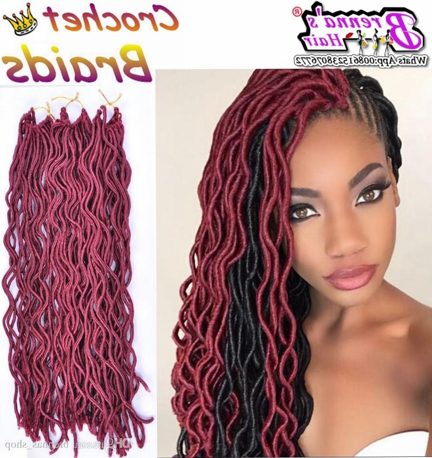 Favorite Top Knot Ponytail Braids With Pink Extensions Pertaining To 24Root Curly Faux Locs Crochet Braiding Hair 12 20Soft Wavy Crochet (View 6 of 15)