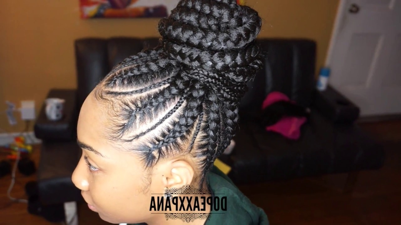 Feed In Braid Bun – Youtube Pertaining To Most Up To Date Two Toned Fulani Braids In A Top Bun (View 9 of 15)