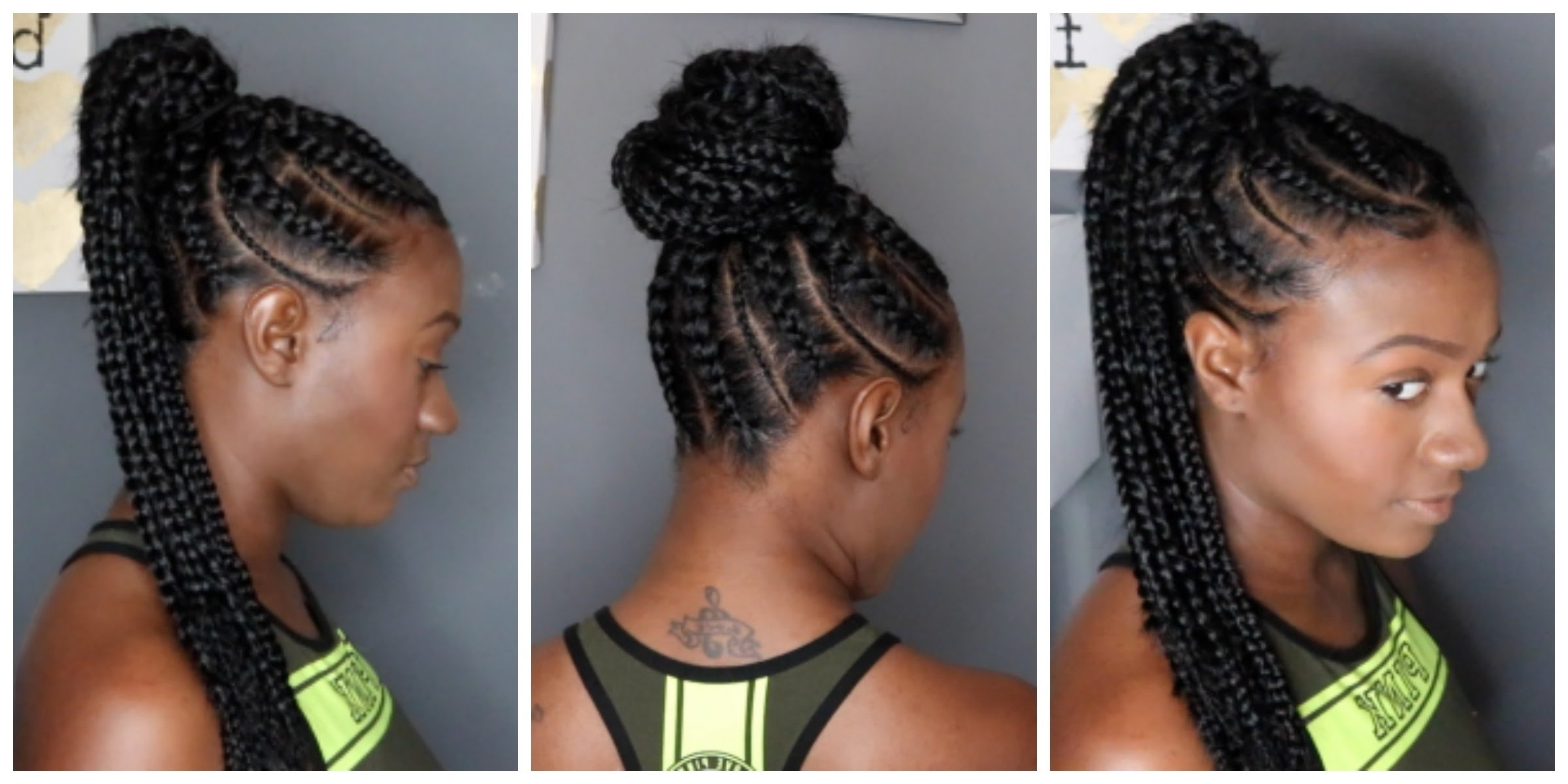 Feed In Braids Ponytail – Youtube Pertaining To Most Up To Date Cornrow Hairstyles Up In One (View 15 of 15)