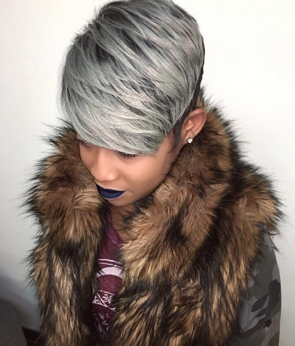 Fierce Gray Pixie Via @hairbylatise – Https://blackhairinformation Intended For Newest Fiercely Braided Hairstyles (View 8 of 15)