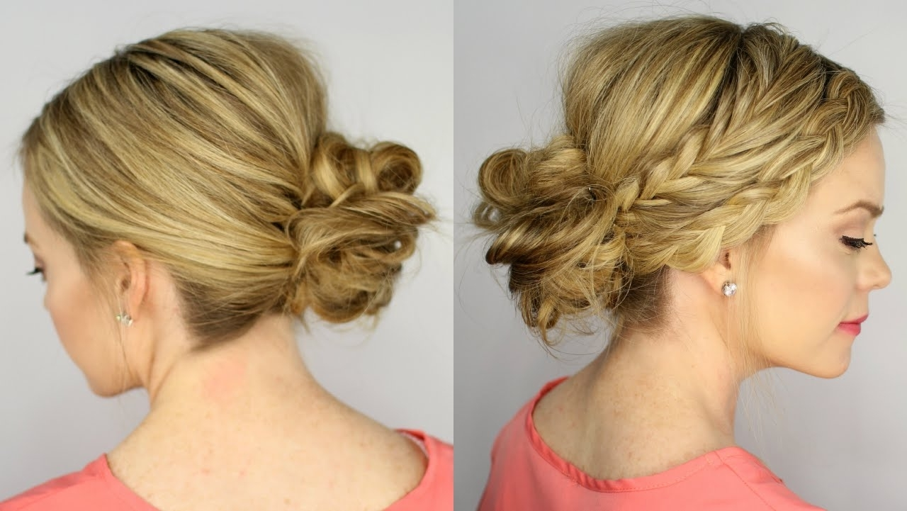 Fishtail And Dutch Braid Messy Bun – Youtube Pertaining To Most Popular Braid Hairstyles To Messy Bun (View 6 of 15)