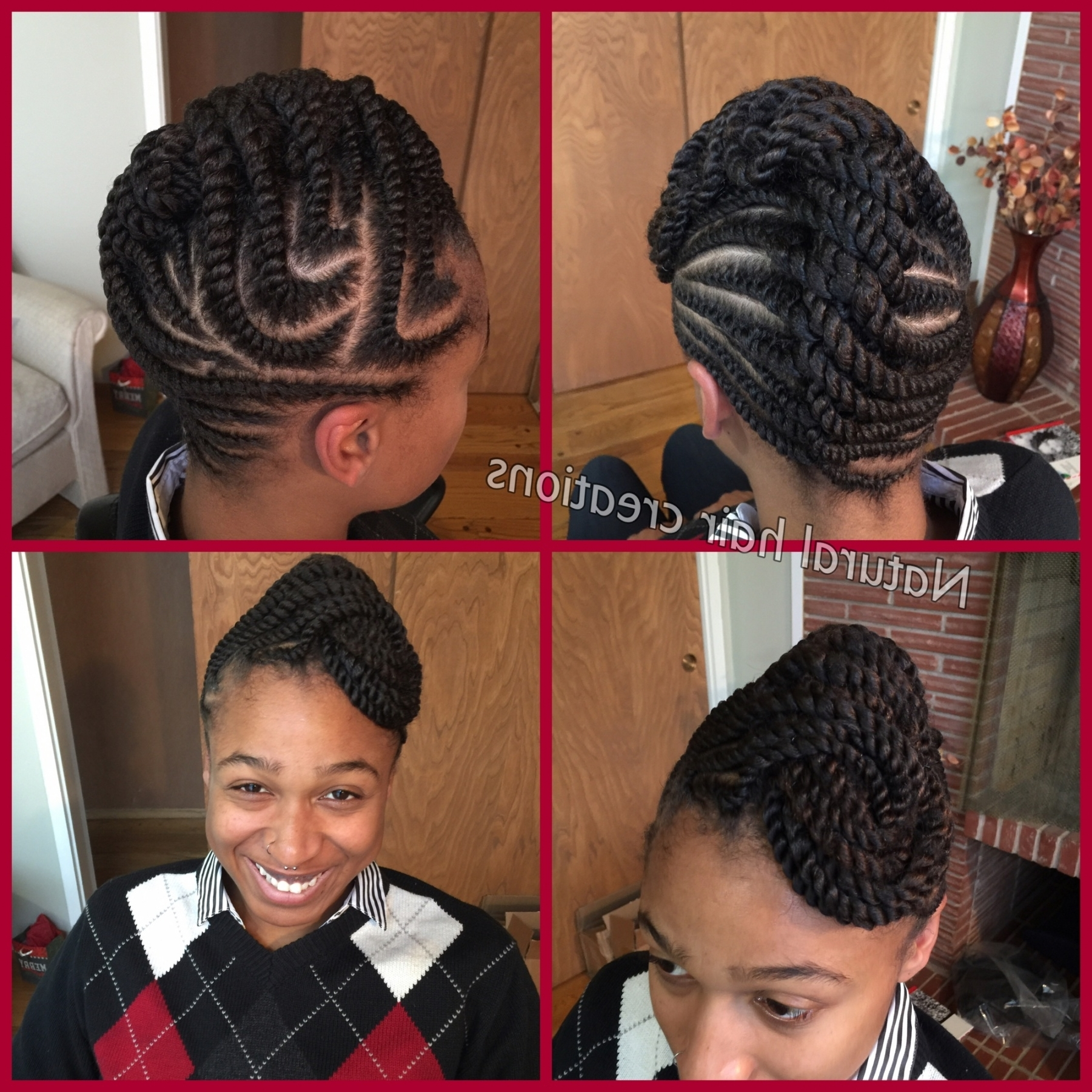 Flat Twists Updo Natural Hair Protective Style Collection Of In With Regard To Recent Natural Updo Cornrow Hairstyles (View 8 of 15)