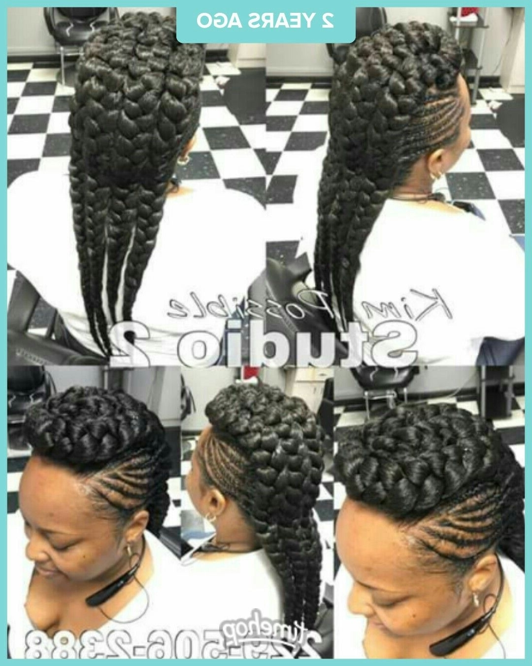 Flipped With Most Recently Released Chunky Mohawk Braid With Cornrows (View 2 of 15)