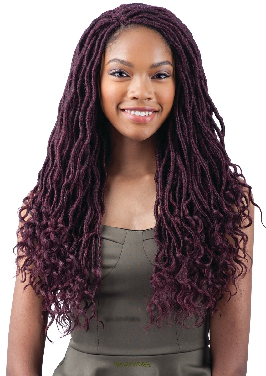 Freetress Braid Pre Looped Crochet Goddess Loc 18 Inch Intended For Fashionable Purple Highlights In Black Braids (View 14 of 15)