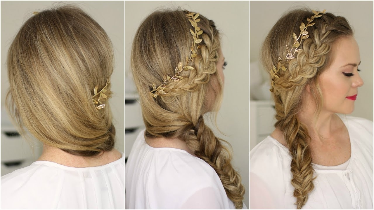 French Braid And Side Fishtail Braid – Youtube Intended For Popular Low Side French Braid Hairstyles (View 5 of 15)