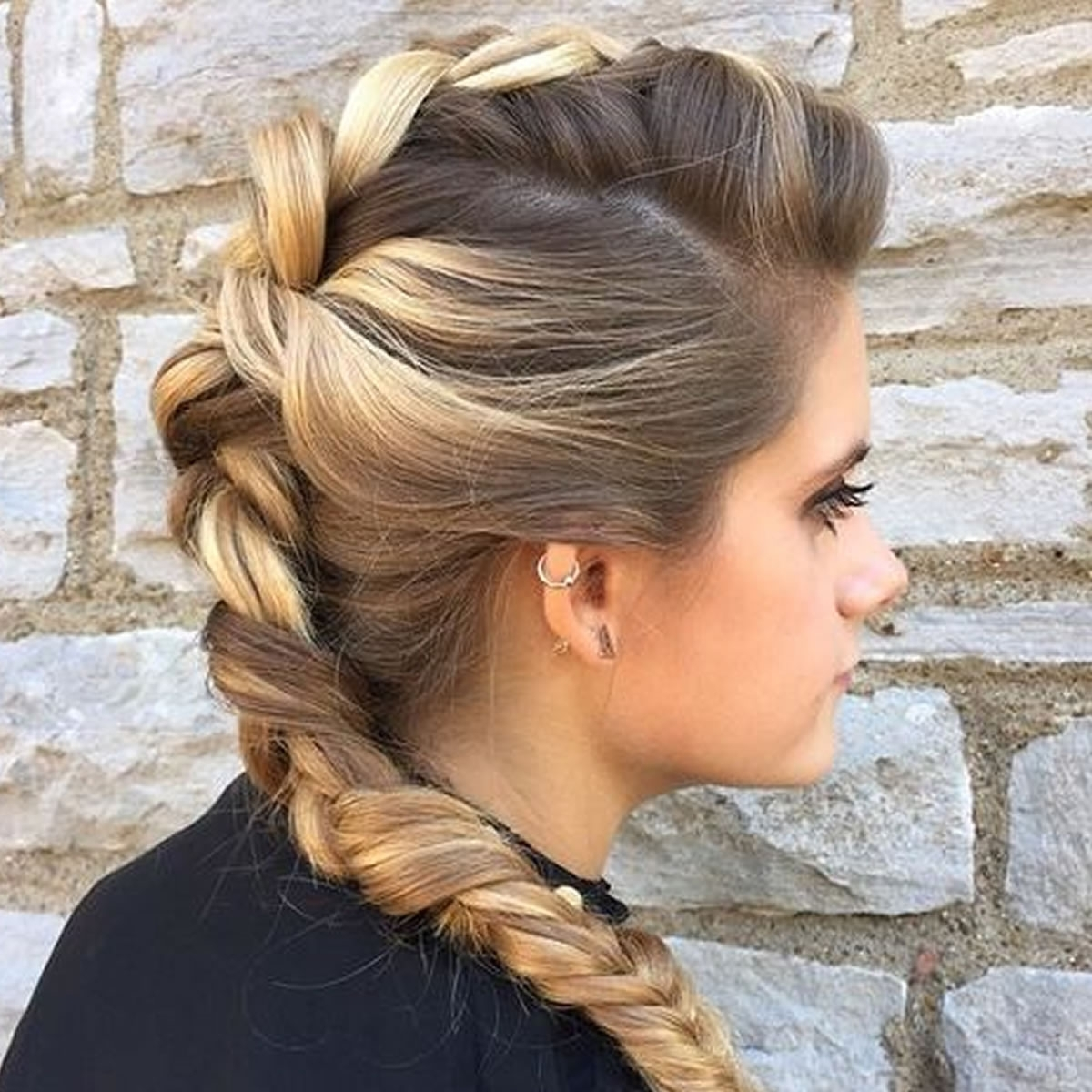 French Braid Mohawk Hairstyle For Long Hair – Hairstyles Within Widely Used Mohawk French Braid Hairstyles (View 6 of 15)