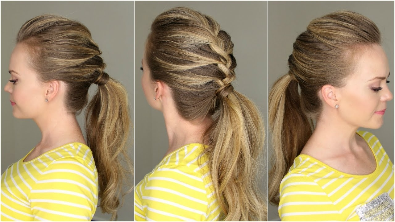 French Braid Ponytail – Youtube Inside Most Recent French Pull Back Braids Into Ponytail (View 9 of 15)