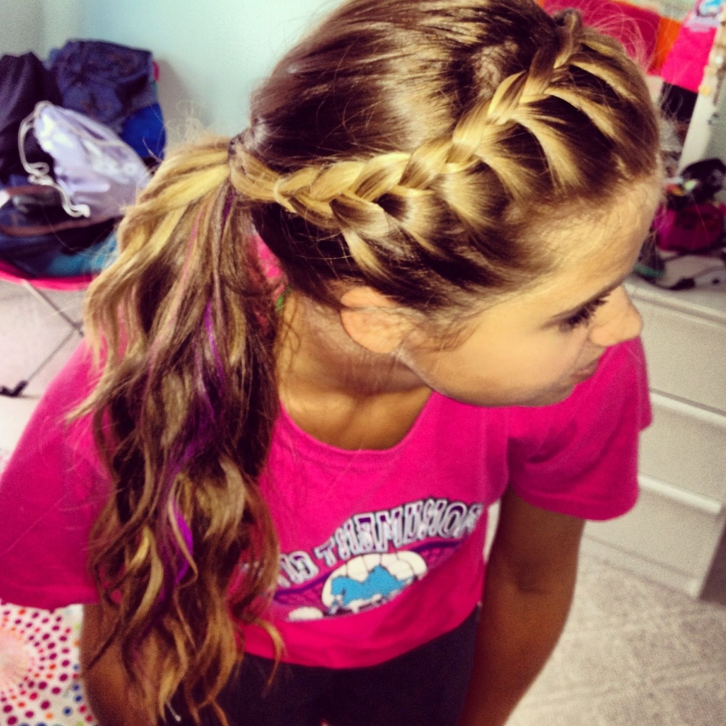 French Braid Your Bangs And Pull Back Into Ponytail (View 5 of 15)